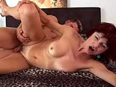 Horny old broad takes a fuck from her young lover