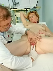 Old mature woman mila being examinated by gyno doctor on gyno chair