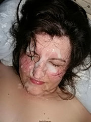 Real amateur milfs getting thick facials