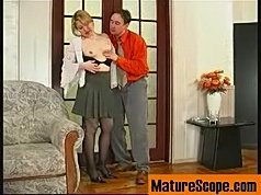 Blonde mum in black tights rubs pussy while blowing cock