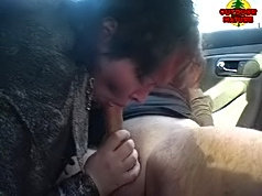 Horny mature slut sucking two guys in a car and in the woods