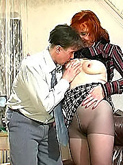 Younger kink rips the pantyhose on mature gingerhead and goes down on her