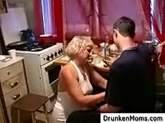 Older slut takes few shots of vodka and teaches her shy neighbor to be a real man