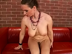 This brunette is eager to show you her large tits and big nipples on camera