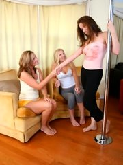 Angelica lauren and her young girlfriend are sharing long dildo
