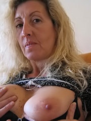 Sweet blonde babe with big tits fucking outdoors
