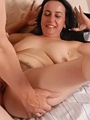 She may be old, but she's still a good lay, as she rides her man to an orgasm
