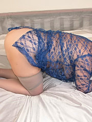 Small titted granny in stockings gives head