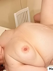 Big mature pussy gets a good proper fuck with a horny young stud right on the table