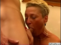 Lad's best friend's mom is a slut waitress and serves him with her best dirty sex tricks
