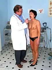 Hairy old woman eva visits gyno doctor during her period