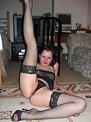 Fine ass mature babe in sexy lingerie spreading pussy