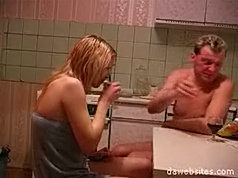 Young blond slut gets fucked hard by a horny man much older than her