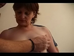 Naughty mature broad gets banged by two guys