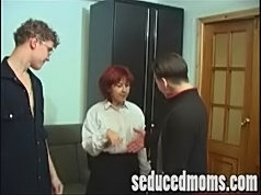 Two hot men fucking an aged chick